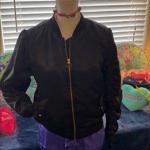 New Look, black satiny feel fabric bomber jacket